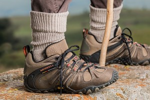 Link to Hiking with image of hiking boots and walking stick