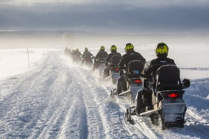 Link to Snowmobiling with image of snowmobiles