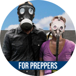 FOR PREPPERS with image of couple wearing gas masks