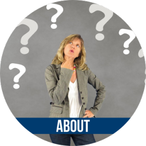 Link to ABOUT with image of woman looking up at question marks