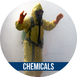 Link to CHEMICALS with image of person in hazmat suit