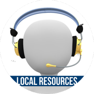 Link to LOCAL RESOURCES with image of someone with headset