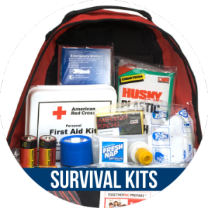 Link to SURVIVAL KITS with image of bag and supplies