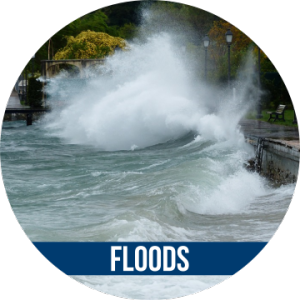 Link to FLOODS with image of wave